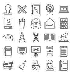 lesson teacher icons set outline style vector image