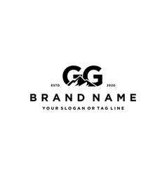 Letter gg mountain logo design vector
