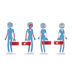 Male female nurse standing with red tool box vector