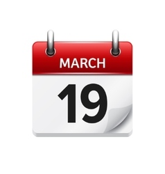 March 19 flat daily calendar icon Date vector
