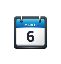 March 6 Calendar icon flat vector
