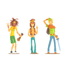 Men different subcultures set hippie vector
