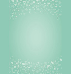 Mint green background with hearts header and vector
