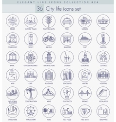 Modern city outline icon set Elegant thin vector
