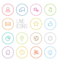 Modern outline circle thin line icon set vector