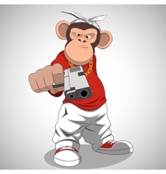 Monkey with a gun vector
