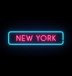 new york neon sign bright light signboard vector image