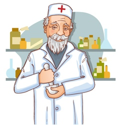 Old doctor with mortar vector image vector image