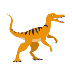 Orange raptor dinosaur of jurassic period vector