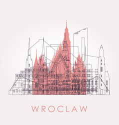 outline wroclaw skyline with landmarks vector image