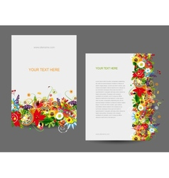 Paper template floral design vector image