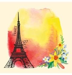 Paris cardEiffel towerWatercolor stainNarcissus vector