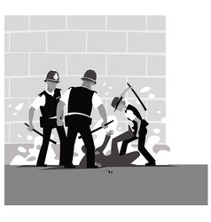 police violence a pack of angry cops beats a man vector image