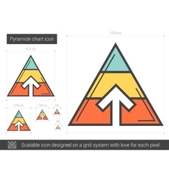 Pyramid chart line icon vector image