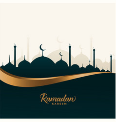 Ramadan kareem wishes card with mosque design vector