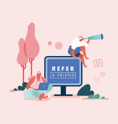 Refer a friend concept women vector