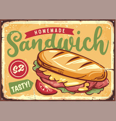 retro poster template with tasty sandwich vector image
