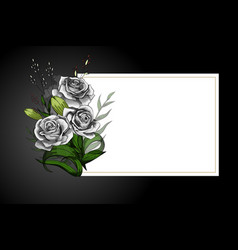 rose flower bouquet on white frame with black vector image