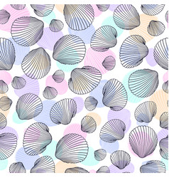 seamless shell pattern hand drawn seashells vector image