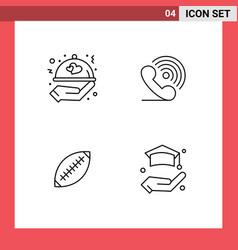 Set 4 filledline flat colors on grid for food vector