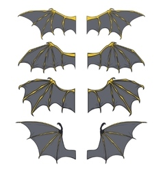 set dragon or bat wings vector image