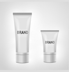 set of white tube mock-up for cream tooth paste vector image