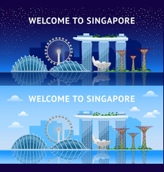 singapore panoramic view of the city at night and vector image