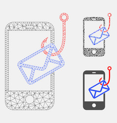 Smartphone mail phishing mesh 2d model and vector