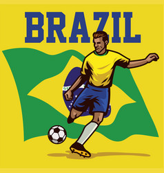 Soccer player of brazil vector