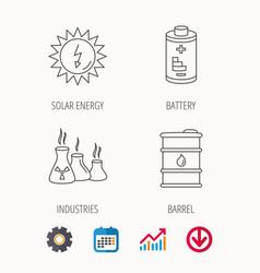 Solar energy battery and oil barrel vector