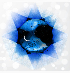 Space with stars and crescent moon on vector