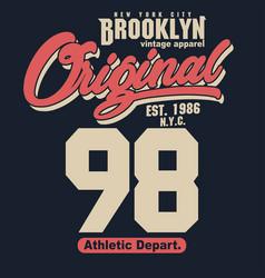 sport t-shirt graphics new york brooklyn athletic vector image