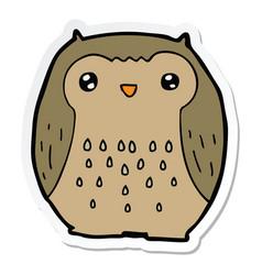 Sticker of a cute cartoon owl vector