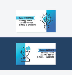 strategy coach business cards icons with bulb vector image