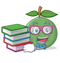 Student with book guava mascot cartoon style vector
