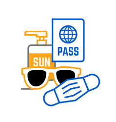 Sunglasses mask passport and sunscreen travel icon vector