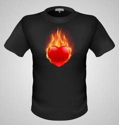 t shirts Black Fire Print man 09 vector image