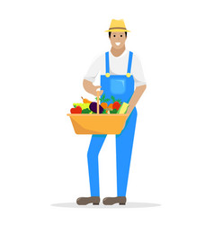 the farmer in overalls with a basket with a vector image