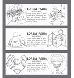 Tourism and journey banners set of outline on the vector