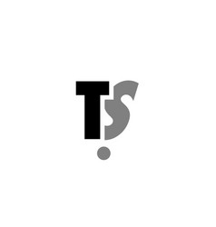 ts t s black white grey alphabet letter logo icon vector image