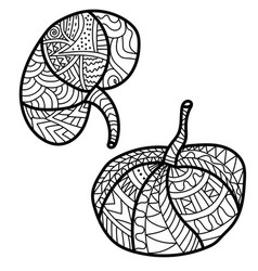 Two small pumpkins with fantasy patterns ornate vector