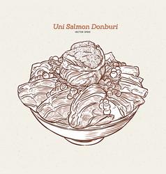 Uni salmon donbuti hand draw sketch japanese food vector