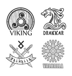 Viking drakkar and valhalla monochrome isolated vector
