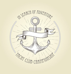 Vintage seafaring emblem - anchor and wavy banner vector