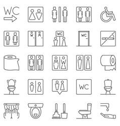 wc outline icons set toilet linear symbols vector image