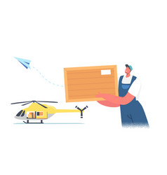 worker loader character loading parcel on vector image