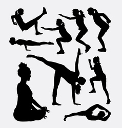 Workout male and female sport silhouette vector image