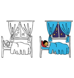 baby sleeping in bed vector image