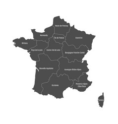 grey map of france divided into 13 administrative vector image vector image