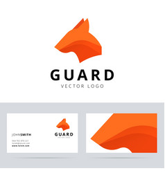 Guard logo template with dog head sign vector image